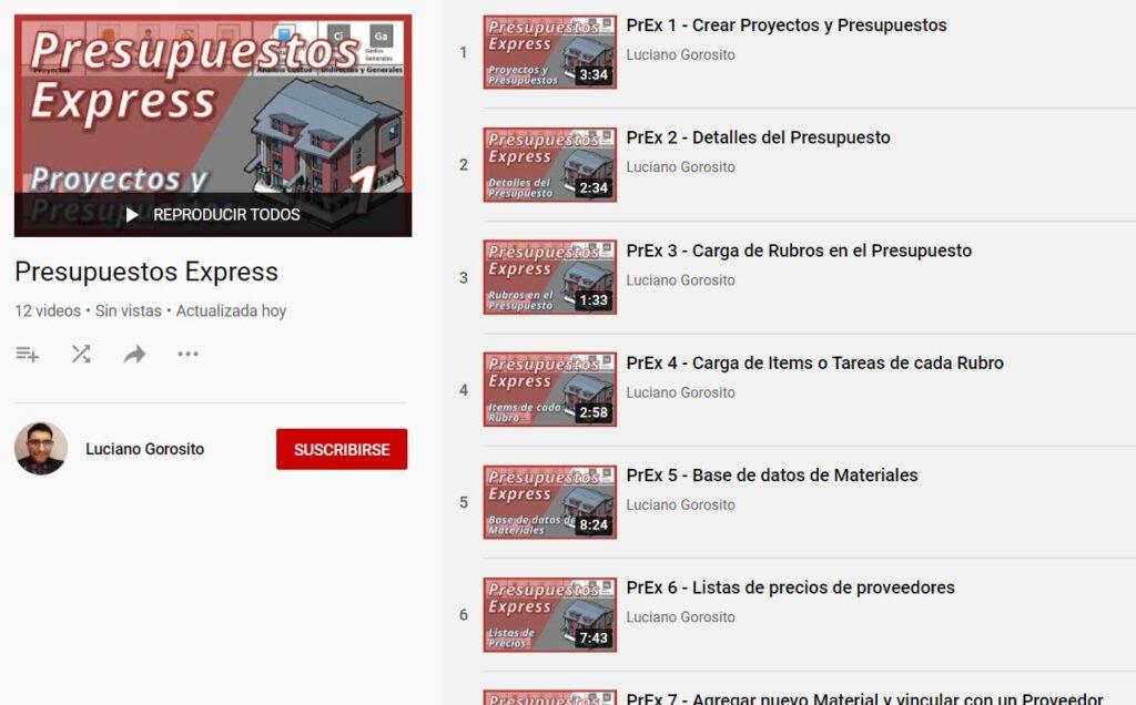 Presupuestos Express: 12 videos para aprender a usarlo